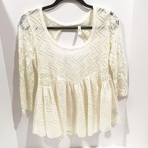 Free People Cream Lace Blouse Size Small